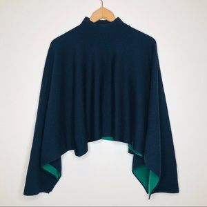 NWOT COS Wool Knit Poncho Navy Green Polo Scarf OS
